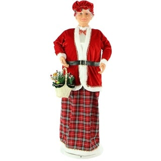 """Fraser Hill Farm 58"""" Dancing Mrs. Claus with Basket"""