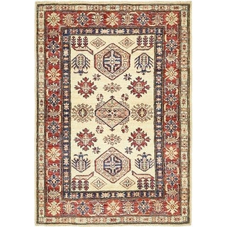 Hand Knotted Kazak Wool Area Rug - 3' x 4' 4