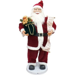 """Fraser Hill Farm 36"""" Traditional Dancing Santa with Scroll and Velvet Toy Sack"""