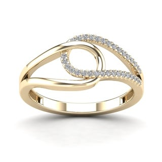 AALILLY 10k Yellow Gold 1/10ct TDW Diamond Fashion Loop Ring (H-I, I1-I2)