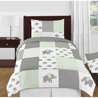 Sweet Jojo Designs Mint, Grey and White Watercolor Elephant Safari Collection Unisex 4-piece Twin-size Comforter Set