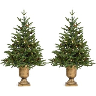 Fraser Hill Farm Set of Two 3.6-Ft. Noble Fir Artificial Trees with Metallic Urn Bases and Battery-Operated LED String Lights