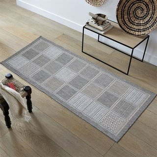 Ottomanson Jardin Collection Checkered Design Indoor/Outdoor Area Rug