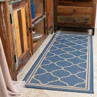 "Jardin Collection Moroccan Trellis Design Indoor/Outdoor Area Rug - 20"" x 59"""