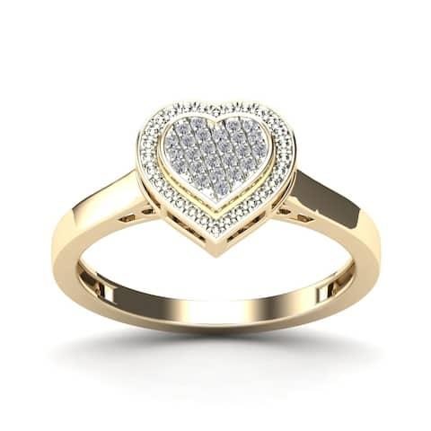 AALILLY 10k Yellow Gold Diamond Accent Fashion Heart Ring (H - I, I1 - I2) Size - 7