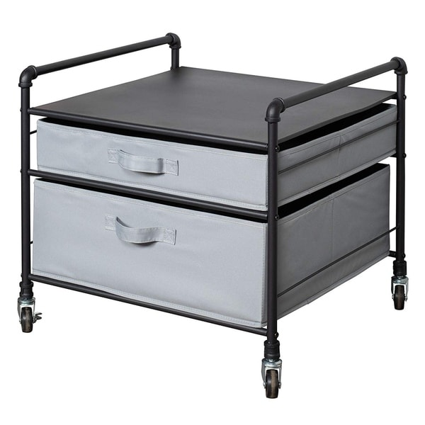 Shop Fridge Stand Supreme - Black Pipe Frame with Light Gray Drawers ...