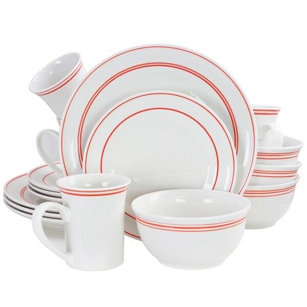 shop gibson porto 16 piece fine ceramic dinnerware set iwth red band