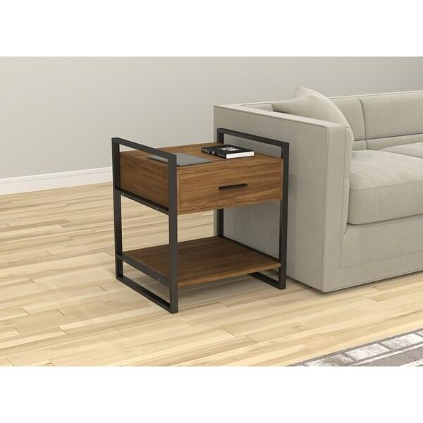 Coaster Company Square Dark Brown Metal End Table: Shop Safdie & Co. Rustic Black/Brown Metal/Wood Accent
