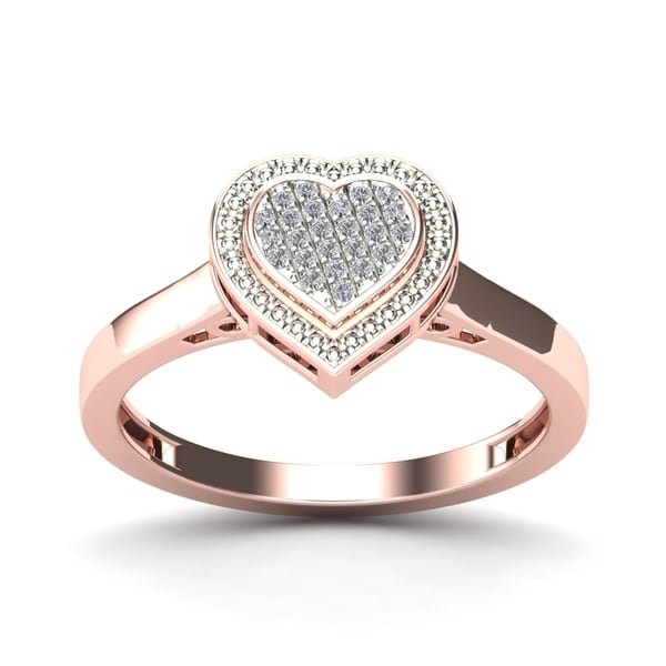 AALILLY 10k Rose Gold Diamond Accent Fashion Heart Ring (H-I, I1-I2)