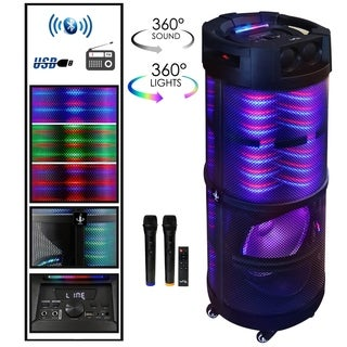 beFree Sound Rechargeable Bluetooth Portable Party Speaker With 360 Degree Sound Reactive LED Lights