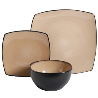 Gibson Elite Soho Lounge 12-Piece Soft Square Dinnerware Set in Taupe