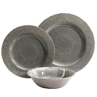 Gibson Studio California Mauna 12 piece Dinnerware Set in Gray Crackle Look Decal