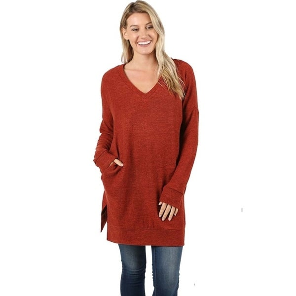 JED Women's Marled Knit Pull-Over V-Neck Sweater Tunic