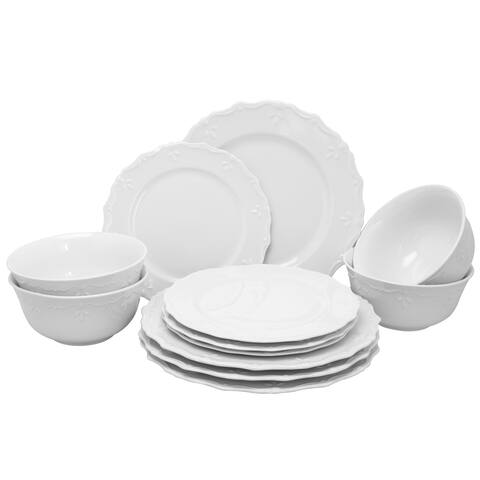 Gibson Home Scallop Buffet Dinnerware Set in White, Set of 12