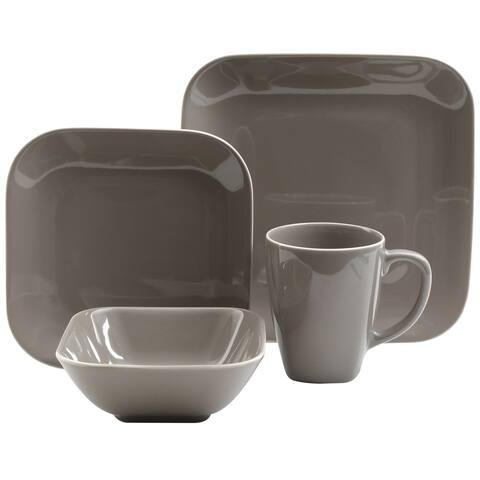 Gibson Home Square Dance 16-Piece Dinnerware Set, Grey