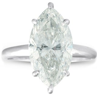 Bliss 14k White Gold 6.00ct Marquise Diamond Solitaire Engagement Ring Clarity Enhanced