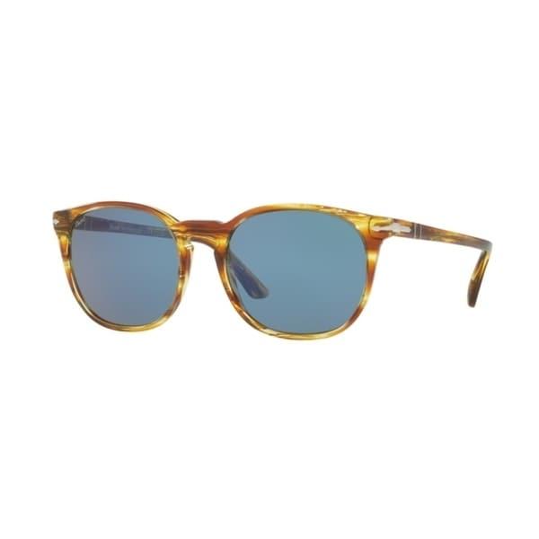 Persol PO3007S Men Brown/Blue Solid Sunglasses