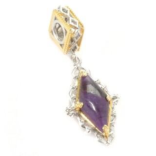 Michael Valitutti Palladium Silver Sugilite Double-Sided Diamond Shaped Drop Charm - Purple