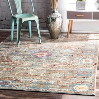 """nuLOOM Green Vintage Persian Inspired Faded Medallion Area Rug - 6'7"""" x 9'"""