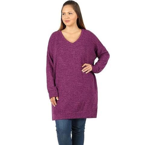 JED Women's Plus Size V-Neck Marled Knit Tunic Sweater