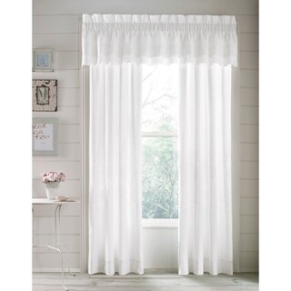 Five Queens Court Lola White Cotton 84-inch Eyelet Window Panel Pair
