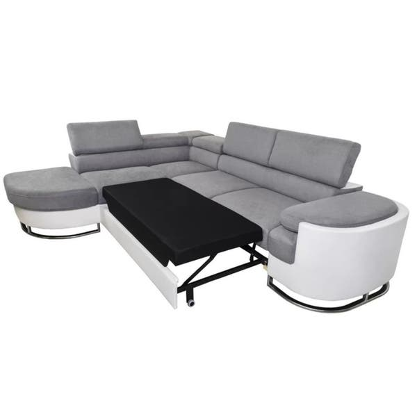 Marvelous Ice Left Corner Sectional Sofa Bed Grey White Faux Leather Cjindustries Chair Design For Home Cjindustriesco