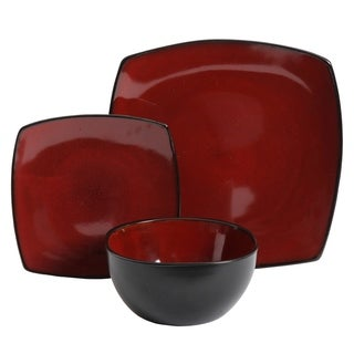 Gibson Elite Soho Lounge 12 Piece Soft Square Dinnerware Set in Red