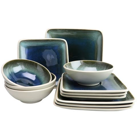 Gibson Elite Namastay 12 Piece Square Dinnerware Set in Blue