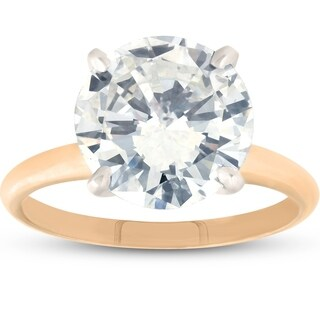 Bliss 14k Yellow Gold 3.77ct Round Brilliant Cut Solitaire Diamond Engagement Ring Clarity Enhanced