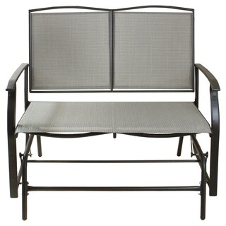 """42"""" Brown and Cream Plaid Steel and 2-Person Loveseat Glider Bench"""