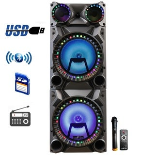beFree Sound Rechargeable Bluetooth 12 Inch Double Subwoofer Portable Party Speaker