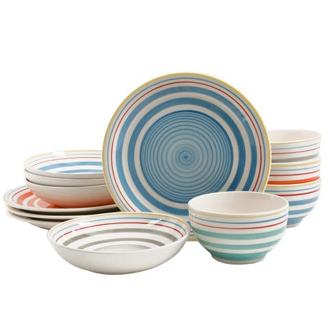 Gibson Moody Blues 12pc Double Bowl Dinnerware Set in 4 Assorted Colors