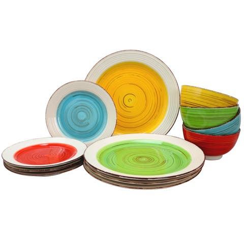Gibson Home Confetti Band 12 Piece Mix & Match Dinnerware Set