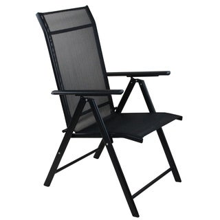 "40"" Black Steel and Mesh Foldable Reclining Patio Arm Chair"