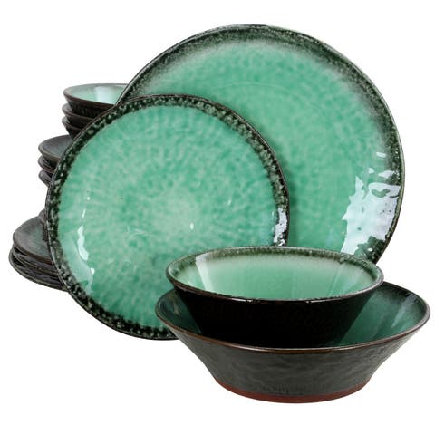 Gibson Elite Green Lantern 16-Piece Double Bowl Dinnerware Set, Teal