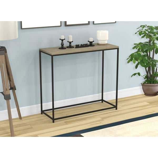 Console Table-Dark Taupe/Black Metal