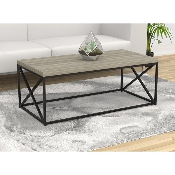 """Coffee Table-48""""L/Grey Wood/Black Metal"""