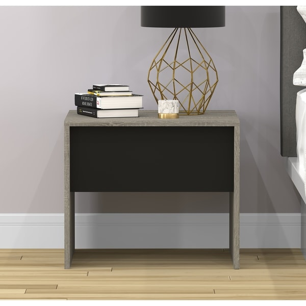 Accent Table-Grey Wood W/T Black Drawer