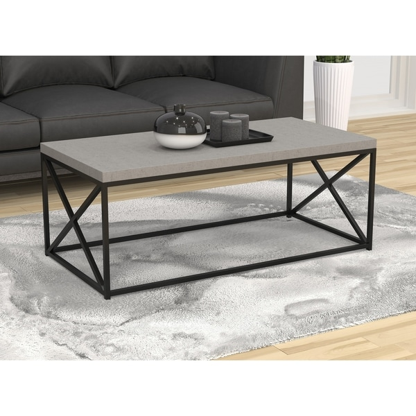 "Coffee Table-48""L/Grey Cement/Black Metal"