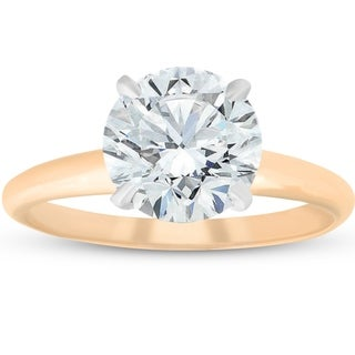 Bliss 14k Yellow Gold 2.01ct Round Brilliant Cut Diamond Solitaire Engagement Ring Clarity Enhanced (I-J/SI1-SI2)