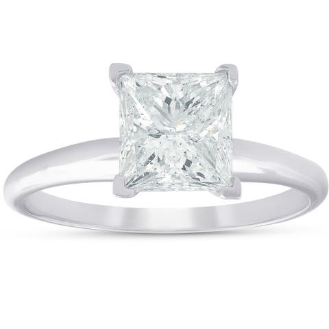 Pompeii3 14k White Gold 2.03ct Princess Square Cut Diamond Solitaire Engagement Ring Clarity Enhanced