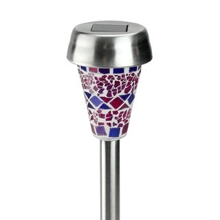 """12"""" Purple Mosaic Solar Light with White LED Light and Lawn Stake"""