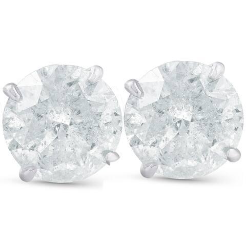 Pompeii3 4.23cttw Round Diamond Studs 14k White Gold Clarity Enhanced