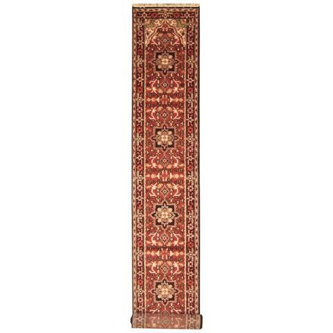Handmade Herat Oriental Indo Hand-knotted Serapi Wool Runner (2'6 x 18')