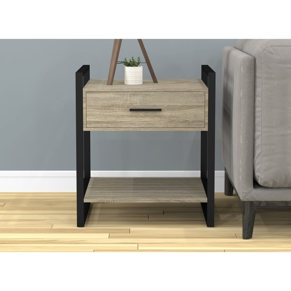 Shop End Living Room/Night Stand/Accent Table-Dark Taupe/Black Metal ...