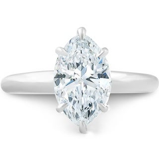 Pompeii3 14k White Gold 2 01ct Marquise Solitaire Diamond Engagement Ring Clarity Enhanced
