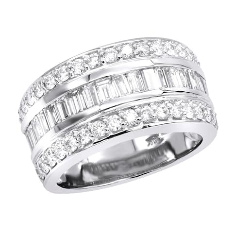 Ladies 14K Gold Round & Baguette Diamond Band 2.8ctw G-H Color by Luxurman
