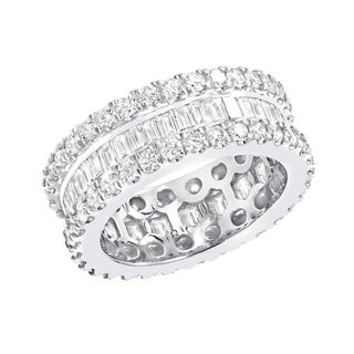 18K Gold Baguette Round Diamond Ring Eternity Band 2.7ctw G-H Color by Luxurman