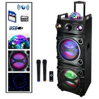 Befree Sound 700 Watt Dual 10 Inch Subwoofer Bluetooth Portable Party Speaker with Sound Reactive Party Lights