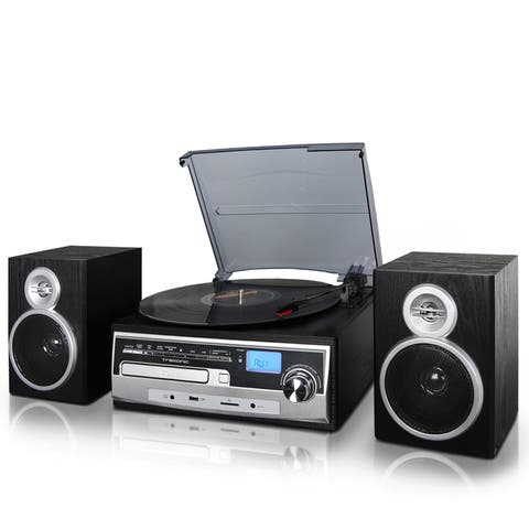 Trexonic 3-Speed Turntable With CD Player, FM Radio, Bluetooth, USB/SD Recording and Wired Shelf Speakers - Black